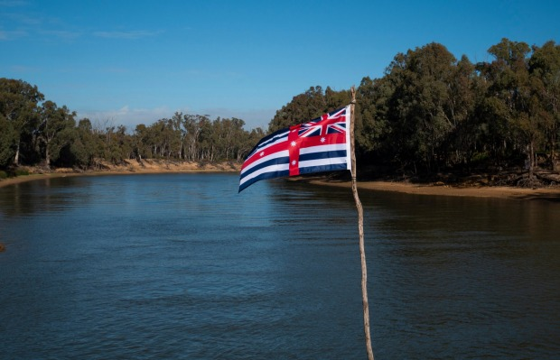 The Murray River flag on the Murray River at Echuca, Victoria.