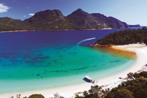 Coral Expeditions visits Wineglass Bay in Tasmania.