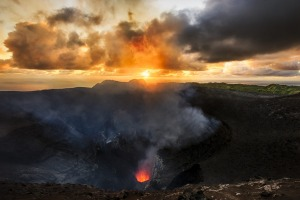 The active volcano at Mount Yasur, erupting at sunrise.