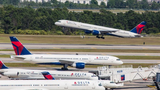 A Delta plane takes off from Orlando International Airport, Florida.