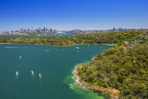 Aerial view of Sydney Harbour from Clifton Gardens.