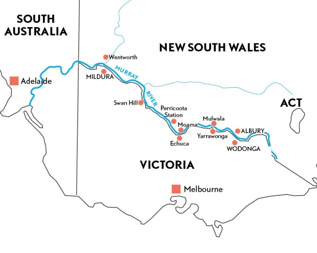 Murray River map for Anthony Dennis Traveller feature updated version
