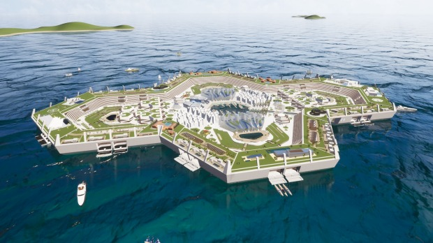 Designs for Blue Sky Estate, a floating island in the Caribbean with room for 15,000 residents.
