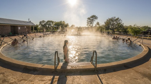 The naturally heated thermal pool at the Artesian Bore Baths.