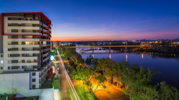 Rockhampton and the Fitzroy River at night.