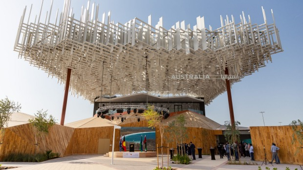 "The newly completed Australia pavilion, ""Blue Sky Dreaming"" at this year's Dubai World Expo.  Photo: supplied"