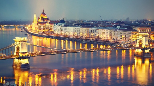 The Szechenyi Chain Bridge and Parliament in Budapest.