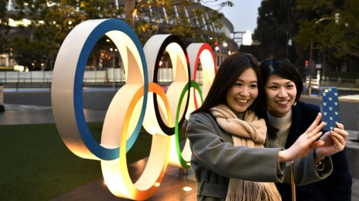 The Olympic rings near Tokyo's new National Stadium.