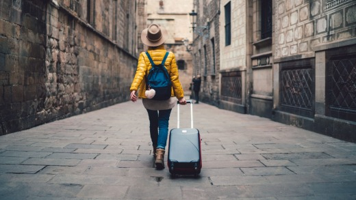 Young travellers are more likely to be pulling a long a case with wheels than wearing a backpack these days.