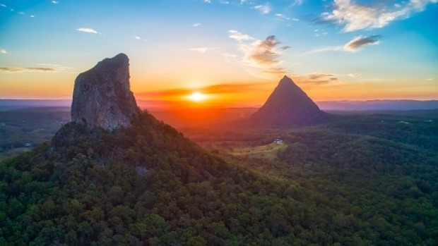 Mount Coonowrin and Mount Beerwah in the Glasshouse Mountains, Sunshine Coast.