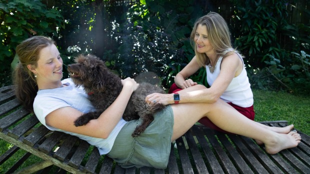 Sophie Hobbs (right) and her daughter, India, with their dog Ebba. Ebba was stuck in Tasmania without her owners due to ...