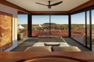 The views from the Dune Pavilion bedroom at Longitude 131.