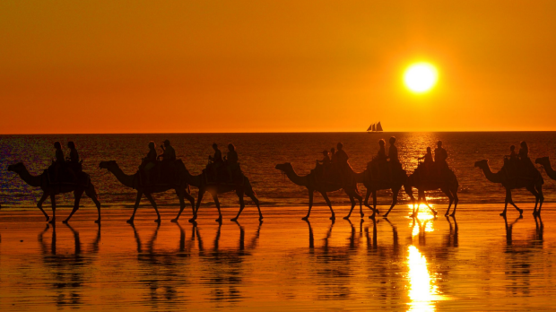 Sunset camel ride at Cable Beach, Broome<br /> Credit: Tourism Western Australia