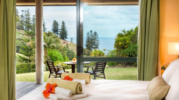 Ocean views from the bed at Kushu Cottage, Norfolk Island.