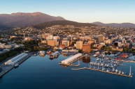 Hobart's waterfront and the mountains beyond.