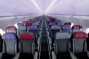 Economy class on board a Virgin Australia Boeing 737. Complimentary snacks will no longer be served.