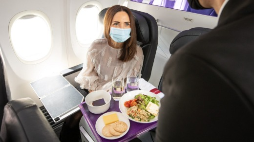 Business class passengers will again receive plated meals.