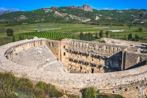 Remnants of the open old circle theater, constructed by Greece architect Eenon during time of Mark Aurelius, Aspendos, ...