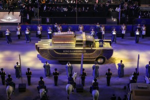 A specially designed vehicle transports the mummy of King Ramesses III in a convoy from the Egyptian Museum in Tahrir ...