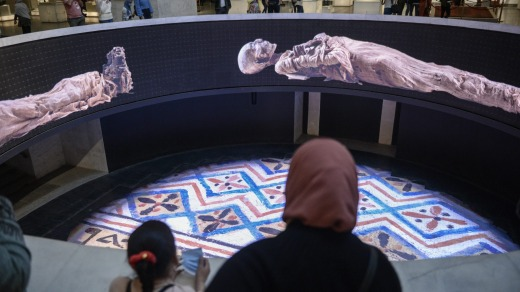 A screening about the royal mummies inside the new National Museum of Egyptian Civilization.