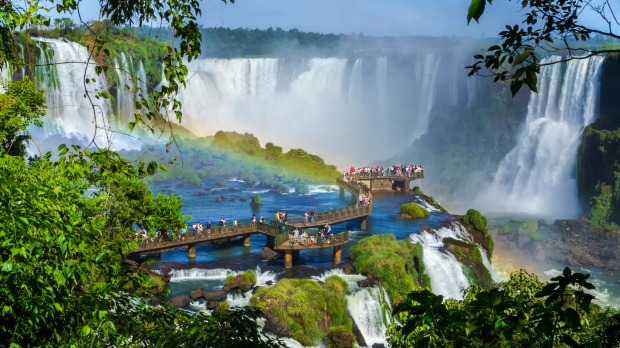 Iguazu Falls straddles the borders of two South America countries, but which two?