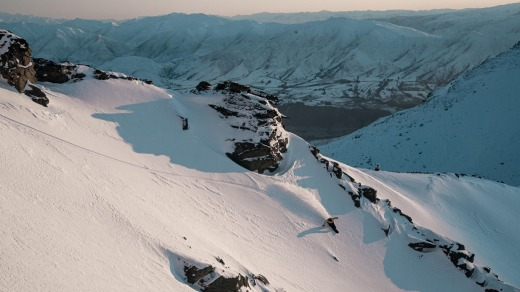 A snowboarder at The Remarkables, Queenstown, New Zealand.
