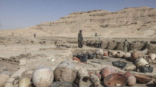Items found in the newly unearthed city, located between the temple of King Rameses III and the colossi of Amenhotep III ...