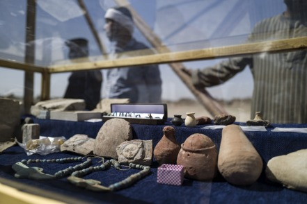 Items that are part of the discovery of a 3000 year-old lost city, are displayed in Luxor.