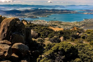 Looking down from Mt Wellington to Hobart and its waterways.