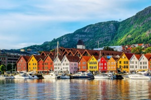 The historic buildings at Bryggen-Hanseatic wharf in Bergen, Norway, a UNESCO World Heritage Site.