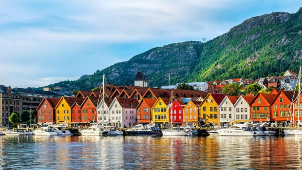 Historical buildings in Bergen, Norway. It has high vaccination rates and low infections.