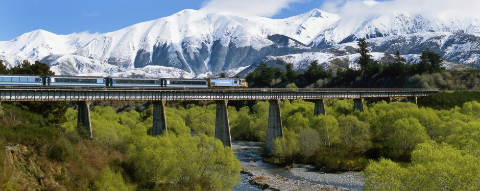 The TranzAlpine, a 10-hour round trip, runs from Christchurch on the east coast of the South Island to Greytown on the west.