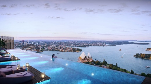 An artist's impression of the pool at the planned 'six-star' hotel at 52 Phillip St, Sydney.