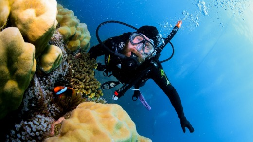 The writer diving the Great Barrier Reef. Instructors in Cairns come from all over the world.