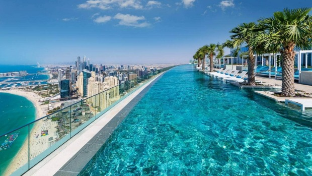 The world's tallest infinity rooftop pool at the Address Beach Resort in Dubai.
