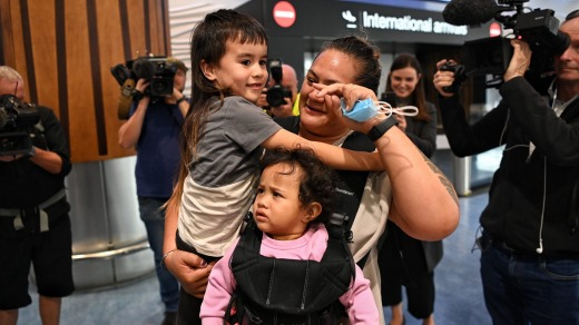 Lisa Te Tai and her granddaughter Manaia arrive in Auckland to be greater by her son Marcelle Te Tai and her grandson.