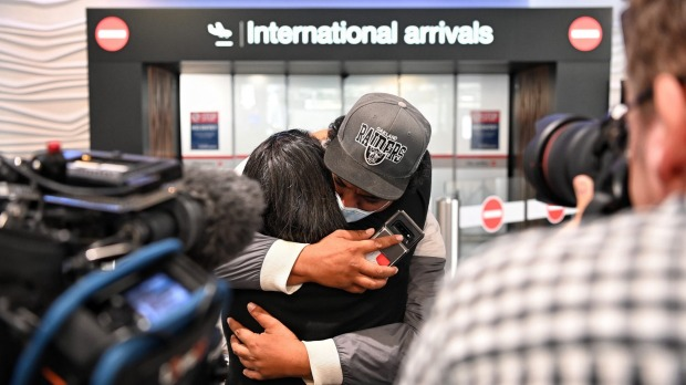 Emotional arrivals at Auckland airport after the first trans-Tasman bubble flight. Most of the people looking to leave ...