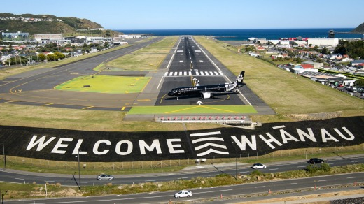Wellington Airport welcomes the first flight to arrive in the city from Australia after the trans-Tasman bubble opened ...