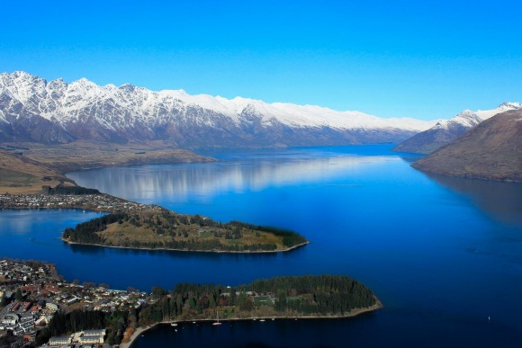 Looking from Queenstown over Lake Wakatipu to The Remarkables range.