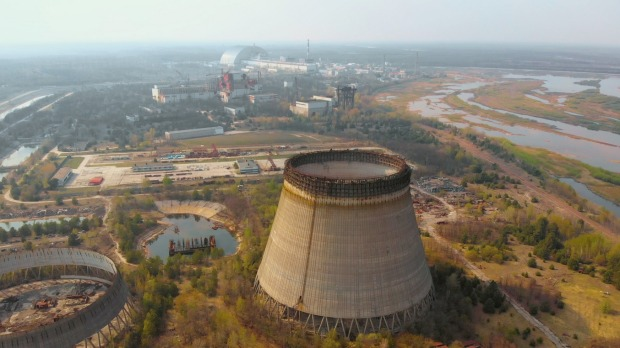 The cooling tower at the nuclear power plant in Chernobyl.