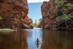 Ellery Creek near Alice Springs. Recent rains have turned the desert green and filled the waterholes to the brim.