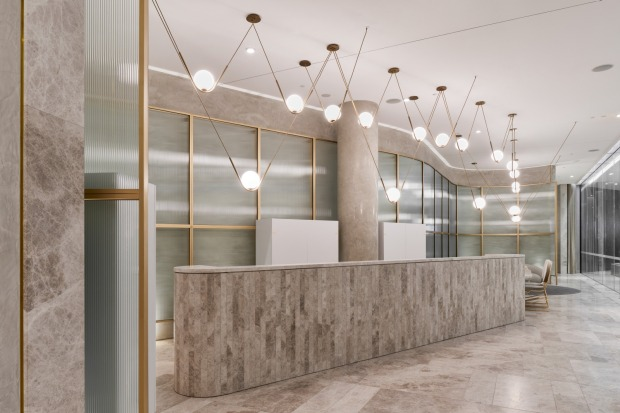 The marble and copper lobby at Eos.