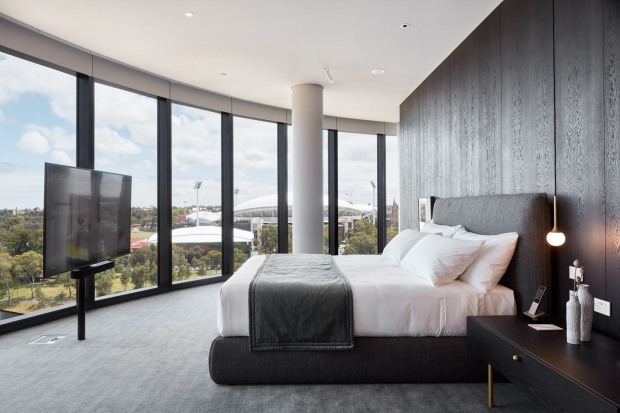 Radiance River View Suite has floor-to-ceiling views and a huge flat-screen TV at the base of the bed.