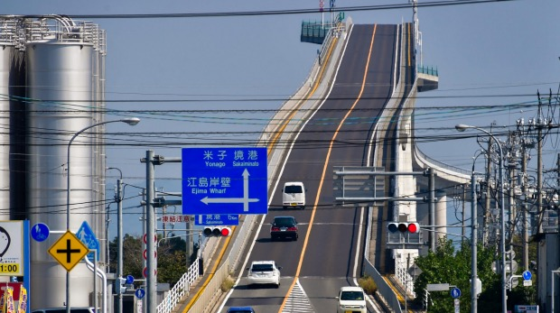 The Eshima Ohashi Bridge became a major tourist attraction after being featured in a TV ad.
