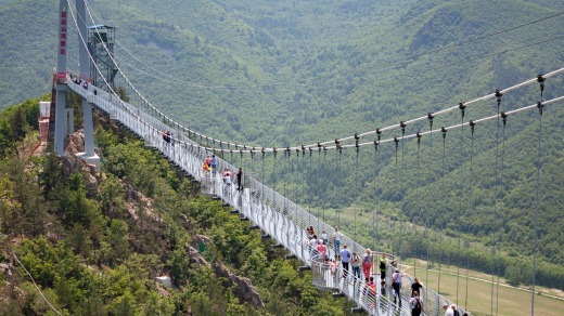 The bridge in Longjing is one of many glass bridges that have been built in China to attract tourists.