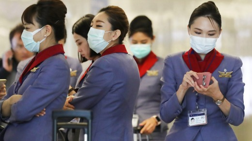 A flight crew from China Airlines at Los Angeles International Airport last year. It is believed the airlines' pilots ...