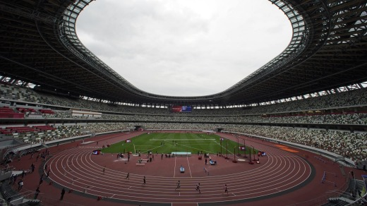 The new National Stadium in Tokyo during a test event last week. International spectators have been banned from ...