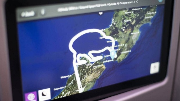 The final flight path for the Air New Zealand little heroes flight on Saturday.