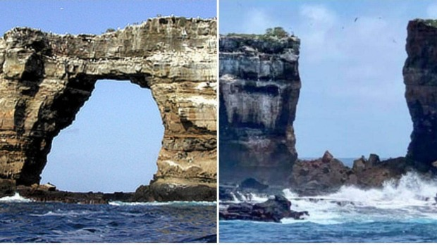 Darwin's Arch before and after the collapse.