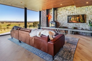 Apart from the spectacular 180 degree views from full length windows, the design is sleek and the decor striking.